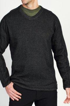 Ruvido V Neck Sweater, Black, medium