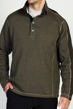Ruvido Snap Henley Sweater, Loden/Tough, medium