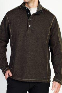 Ruvido Snap Henley Sweater, Tough/Loden, medium