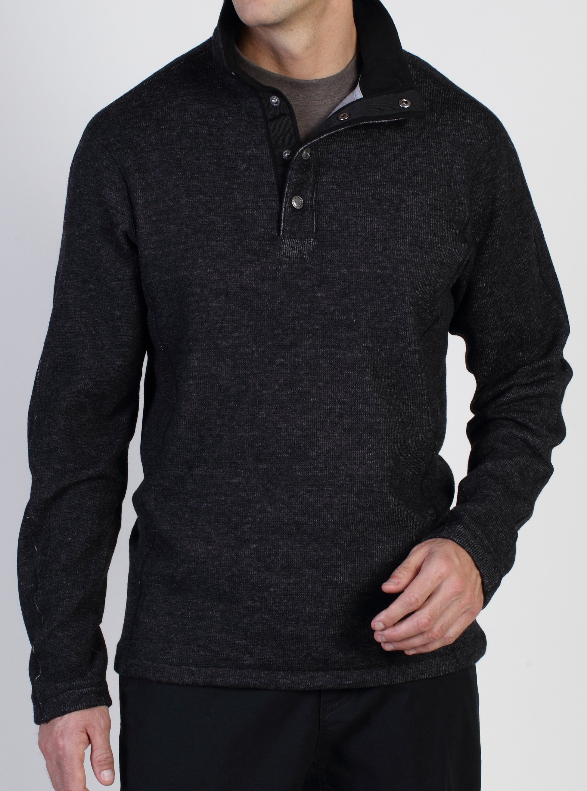 Ruvido Snap Henley Sweater, Black, large