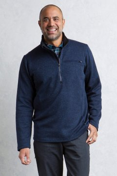 Caminetto 1/4 Zip Neck L/S, Navy Heather, medium