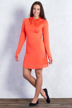 Sol Cool Hoody Dress, Hot Coral, medium