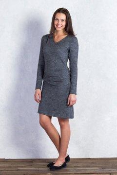 Wanderlux Jacquard Draped Dress, Charcoal Heather, medium