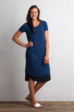 Wanderlux Reversible T-Shirt Dress, Indigo/Black, medium