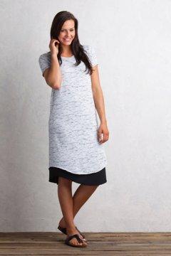 Wanderlux Reversible T-Shirt Dress, Platinum Marl/Black, medium