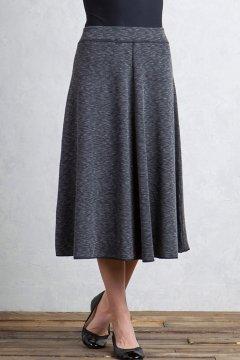 Cordova Reversible Midi Skirt, Black Marl/Black, medium