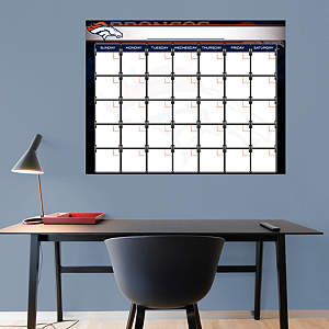Denver Broncos 1 Month Dry Erase Calendar Fathead Wall Decal