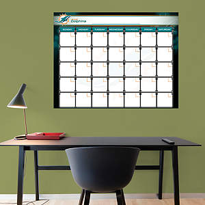Miami Dolphins 1 Month Dry Erase Calendar Fathead Wall Decal