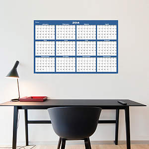 Navy & Gray Dry Erase 2014 Blank Calendar - Medium Fathead Wall Decal