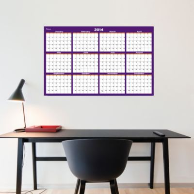 Purple & Orange Dry Erase 2014 Blank Calendar - Medium Fathead Wall Decal