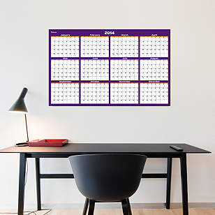 Purple & Orange Dry Erase 2014 Blank Calendar - Medium