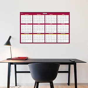 Cranberry & Orange Dry Erase 2014 Blank Calendar - Medium Fathead Wall Decal