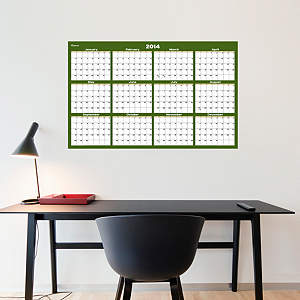 Forest & Khaki Dry Erase 2014 Blank Calendar - Medium Fathead Wall Decal