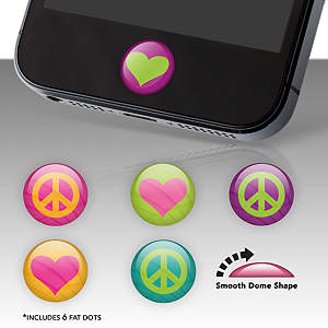 Heart and Peace Signs Fat Dots Stickers
