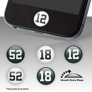 Green Bay Packers Player Number Fat Dots Stickers