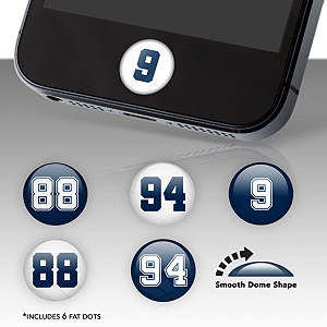 Dallas Cowboys Player Number Fat Dots Stickers
