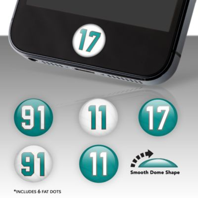 Miami Dolphins Player Number Fat Dots Stickers