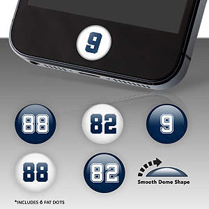 Dallas Cowboys Player Numbers Fat Dots Stickers