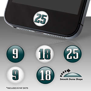 Philadelphia Eagles Player Numbers Fat Dots Stickers