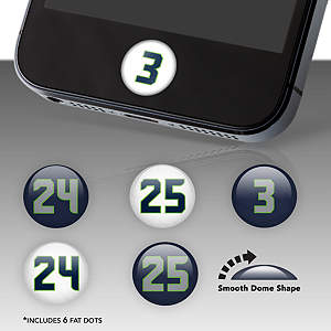 Seattle Seahawks Player Numbers Fat Dots Stickers