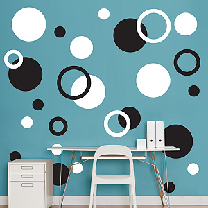 Black & White Polka Dots Fathead Wall Decal