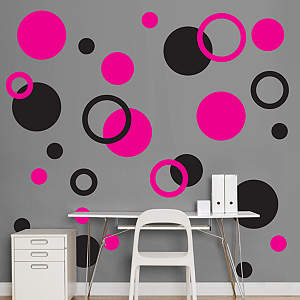 Black & Hot Pink Polka Dots Fathead Wall Decal