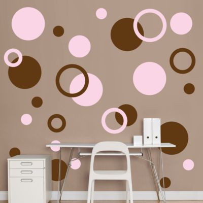Brown & Pink Polka Dots Fathead Wall Decal