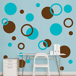 Brown & Turquoise Polka Dots Fathead Wall Decal