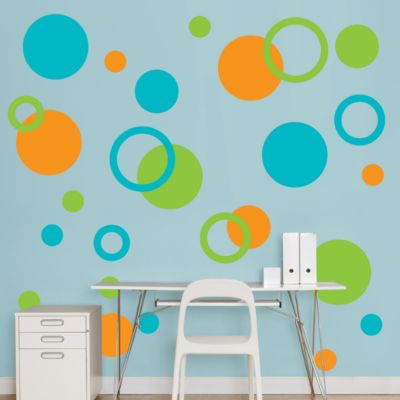 Orange, Green & Turquoise Polka Dots Fathead Wall Decal