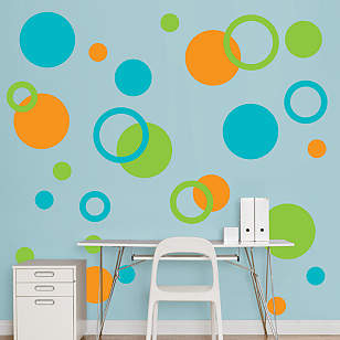 Orange, Green & Turquoise Polka Dots