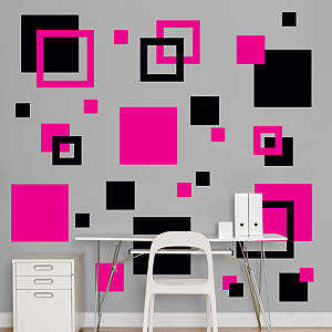Black & Hot Pink Squares Fathead Wall Decal