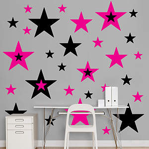 Black & Hot Pink Stars  Fathead Wall Decal