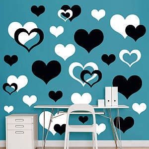 Black & White Hearts Fathead Wall Decal