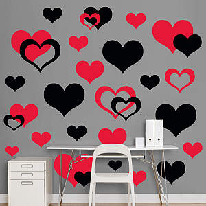 Black & Red Hearts  Fathead Wall Decal