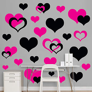 Black & Hot Pink Hearts  Fathead Wall Decal