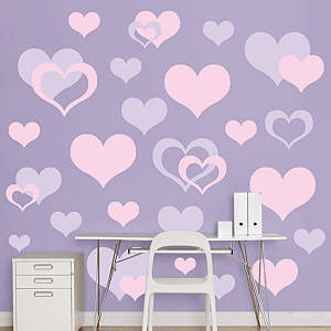 Lavender & Pink Hearts  Fathead Wall Decal
