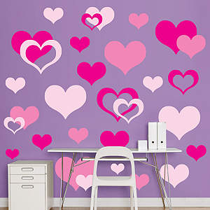 Pink Hearts  Fathead Wall Decal