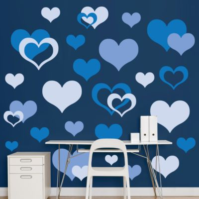 Blue Hearts  Fathead Wall Decal