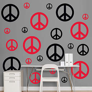 Black & Red Peace Signs  Fathead Wall Decal