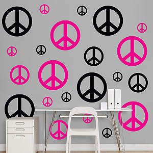 Black & Hot Pink Peace Signs  Fathead Wall Decal