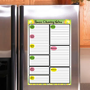 Dry Erase House Cleaning Notes