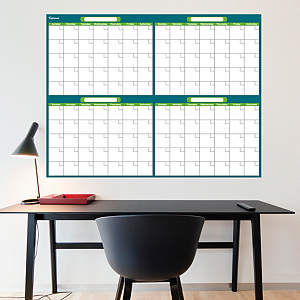 Turquoise & Lime Dry Erase Blank 4 Month Calendar  Fathead Wall Decal