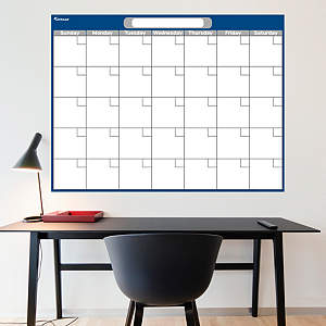 Navy & Gray Dry Erase Blank Calendar  Fathead Wall Decal