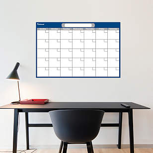 Navy & Gray Medium Dry Erase Blank Calendar