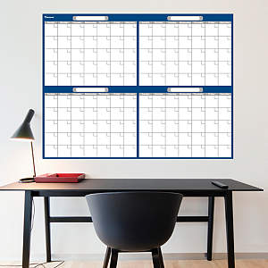 Navy & Gray Dry Erase Blank 4 Month Calendar  Fathead Wall Decal