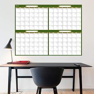 Forest & Khaki Dry Erase Blank 4 Month Calendar