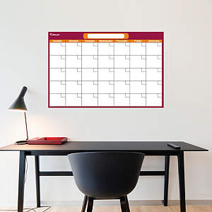 Cranberry & Orange Medium Dry Erase Blank Calendar  Fathead Wall Decal