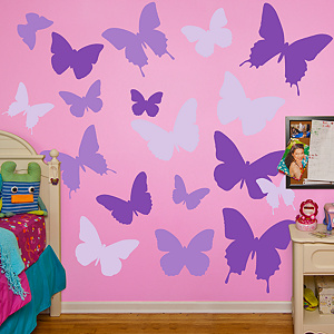 Purple Butterflies Fathead Wall Decal
