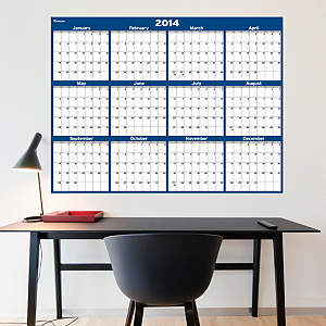 Navy & Gray Dry Erase 2014 Blank Calendar - Large Fathead Wall Decal