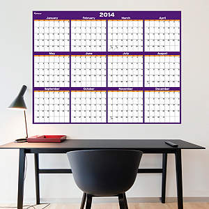 Purple & Orange Dry Erase 2014 Blank Calendar - Large Fathead Wall Decal